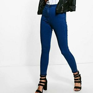 High rise cropped tube jeans